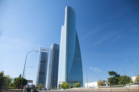 lamppost: building skyscrapers at madrid city in spain Stock Photo