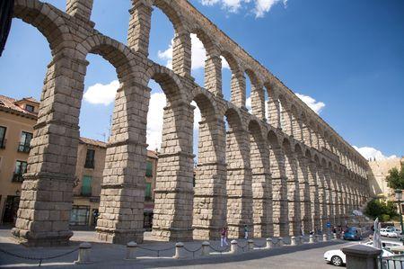 segovia: roman aqueduct of segovia city in spain