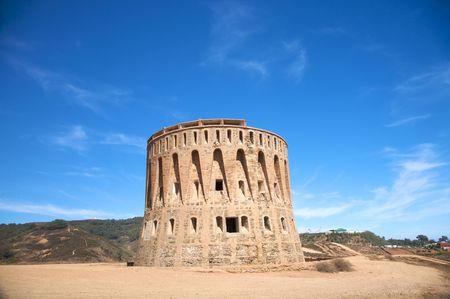 watchtower: ancient watchtower next to ceuta town in africa