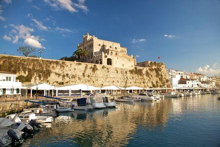menorca: Seaport of Ciutadella city at Menorca island in Spain Stock Photo