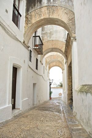 street at Vejer village in Cadiz Andalusia Spain photo