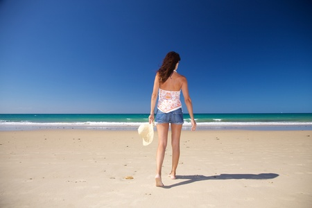 woman at Zahara beach in Cadiz Andalusia Spain photo