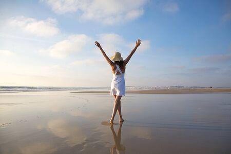 woman at Castilnovo Beach in Cadiz Andalusia Spain photo