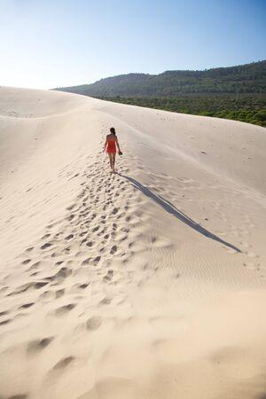 desert footprint: great sand dune at Cadiz Andalusia in Spain