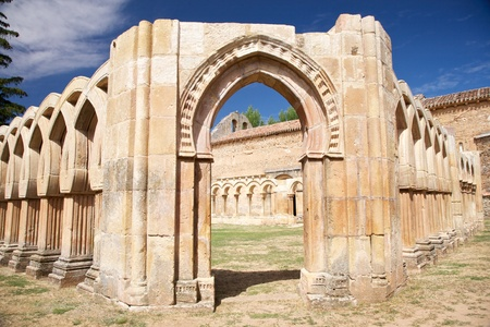 castilla: public ancient San Juan cloister ruins at Soria in Castilla Spain