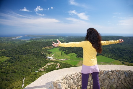 view from Toro Mountain at Menorca island in Spain photo