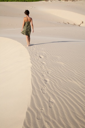 back ground: great sand dune at Cadiz Andalusia in Spain