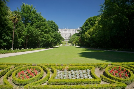 palaces: public garden free access next to Royal palace at Madrid Spain