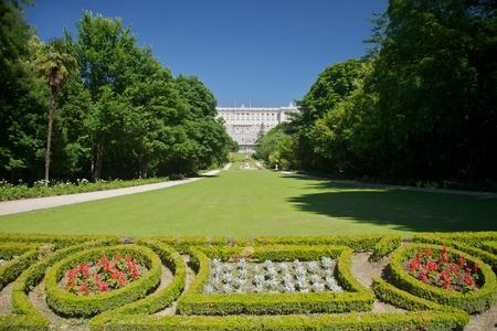 royal palace: public garden free access next to Royal palace at Madrid Spain