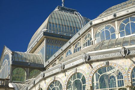 ancient Crystal palace in El Retiro park at Madrid Spain