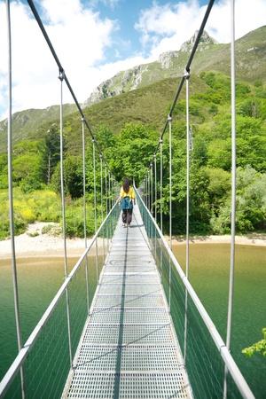sella: footbridge over Sella river near to Ribadesella village in Asturias Spain Stock Photo