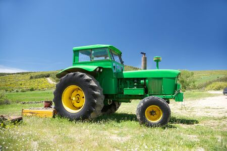 old green tractor at Gredos mountains in Avila Spain