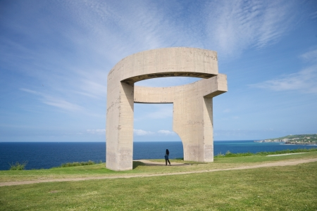 eduardo: Eulogy of the Horizon by Eduardo Chillida public monument in Gijon city Asturias Spain Stock Photo