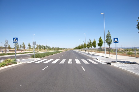 lonely new street at Madrid city in Spain photo