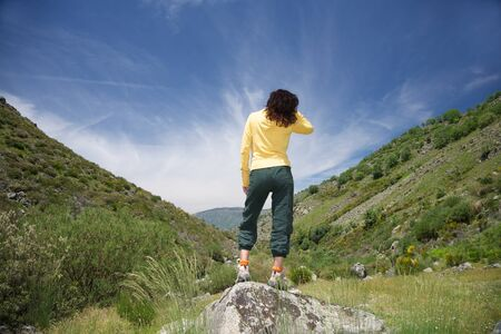 trekking woman at Gredos mountains in Avila Spain photo