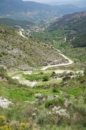 ancient roman road at Gredos mountains in Avila Spain photo