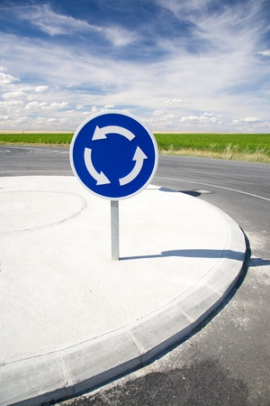 roundabout blue signal in a road at Arevalo Spain photo