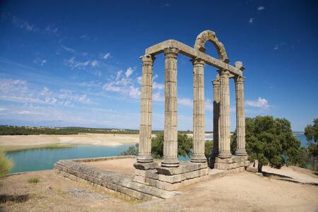 badajoz: ruin of Augustobriga roman city at Badajoz Extremadura in Spain Stock Photo