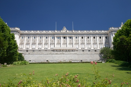 public garden free access next to Royal palace at Madrid Spain photo