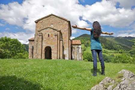 lena: IX century Santa Cristina de Lena church near Oviedo city in Asturias