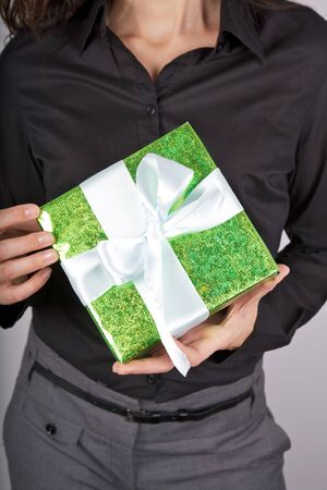 woman detail with a gift box in her hands Stock Photo - 12894209