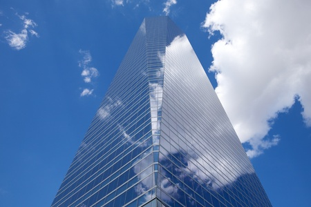 business crystal skyscrapers in Madrid city Spain Stock Photo