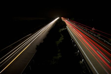 night speed transports at highway in Spain photo