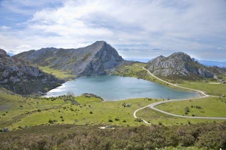 picos: Enol lake at Picos de Europa mountains in Cangas de Onis Asturias