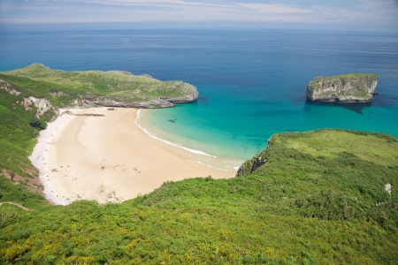 beach of Ballota near to Llanes village in Asturias Spain Stock Photo