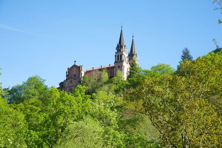 covadonga: ancient church of Covadonga in Asturias Spain