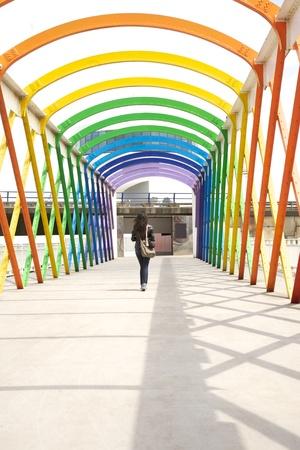 aviles: colorful footbridge in Aviles city Asturias Spain Stock Photo