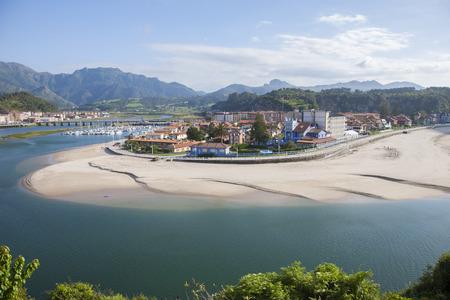 sella: Ribadesella city waterfront next to Sella River in Asturias Spain Europe