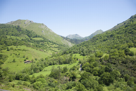 mountain valley: landscape green countryside valley and mountain next to Cangas de Onis Asturias Spain Europe