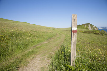 asturias: landscape path and wood signpost with public symbol of trekking route in Asturias Spain Europe