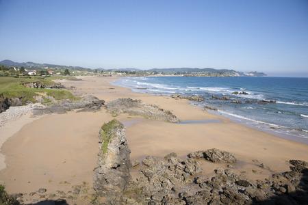 cantabrian: El Viso cantabrian sand beach next to Caravia Asturias Spain Europe Stock Photo
