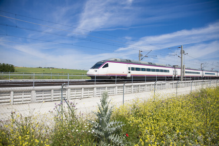 railway transportations: fast speed train over flowers in a landscape from Spain