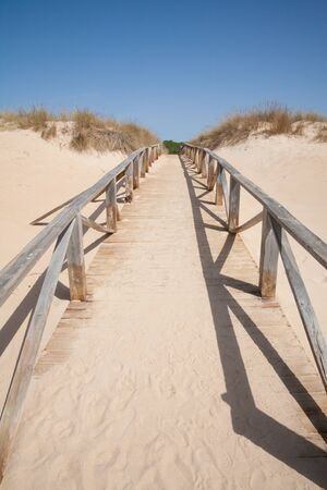 hand rail: wooden and sand walkway or path with hand rail with green blue turquoise water ocean or sea over nature in Vejer Palmar Beach seaside in Cadiz AndalusiaSpain Stock Photo