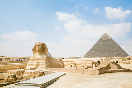 chephren: landmark of famous Great Sphinx, from century XXVI Before Christ, and behind the Great Pyramid of Khafre, in Giza next to Cairo city Egypt, Africa