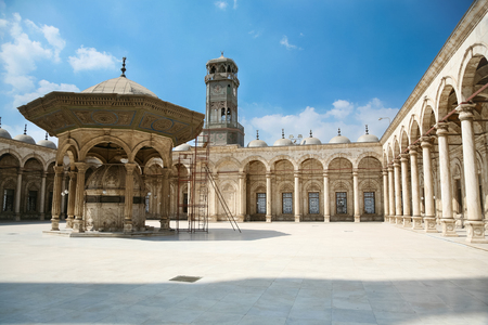 muhammad: landmark of courtyard of muslim Ottoman Mosque of Muhammad Ali, public monument also named Alabaster Mosque, from year 1848, in Saladin old town in Cairo city Egypt, Africa Stock Photo