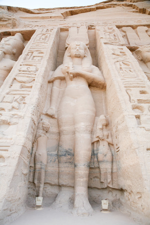 abu simbel: giant Nefertari sculpture in facade of famous Egyptian small temple of Nefertari and Hathor, in Abu Simbel, public monument from 13th century Before Christ, in Nubia Egypt, Africa