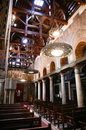 coptic orthodox: interior of church Saint Mary Virgin, El Muallaqa or Hanging Church, orthodox coptic christian religion, public monument from century III or IV, in Cairo, Egypt, Africa