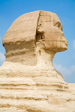 chephren: landmark of famous Great Sphinx, from century XXVI Before Christ, public monument in Giza next to Cairo city Egypt, Africa