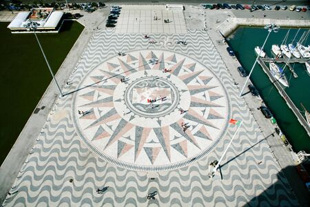 mundi: aerial view of big compass rose and mappa mundi or world map in floor next to Monument to Discoveries, or Padrao dos Descobrimentos, public landmark in street of Belem, Lisbon, Portugal Stock Photo