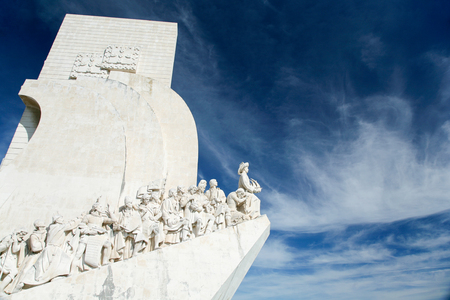 sailer: Monument to Discoveries, early navigators, or Padrao dos Descobrimentos in portuguese, made in year 1960 by architects Telmo, Almeida and Silva; public landmark in street of Belem, Lisbon, Portugal