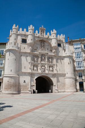 xv century: facade landmark of famous St Mary or Santa Maria Arch Door, monument made in XV Century, in Burgos city, in Castile, Spain Europe