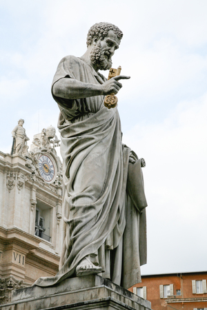 landmark sculpture of Saint Peter with key of Heaven, in Vatican Square, Rome, Italy. Made in 1847 by Giuseppe De Fabris