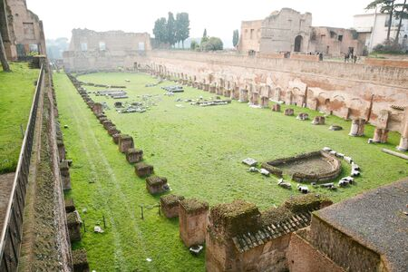 hippodrome: ruins of the ancient roman Stadium or Hippodrome of Domitian, in Palatine hill, in Rome, Italy, Europe