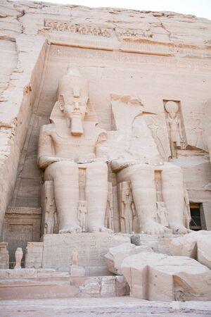 abu simbel: famous Egyptian great statues of pharaoh Ramesses or Ramses II in facade of Abu Simbel temple, public monument from 13th century Before Christ, in Nubia Egypt, Africa
