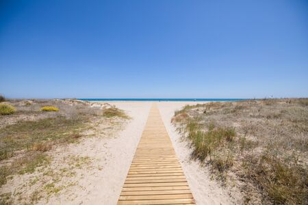 landscape access to idyllic Beach of PIne or Pinar, with wooden footway on sand and bush, in Grao of Castellon, Valencia, Spain, Europe. Blue clear sky and Mediterranean Sea