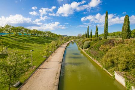 landscape of waterway in public park named Juan Carlos, in Madrid city, Spain